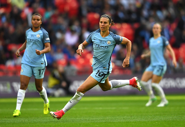Carli Lloyd in action at Wembley. Source: Manchester Evening News