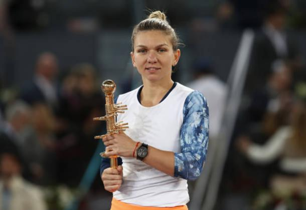Simona Halep after winning the title in Madrid earlier this year (Getty/Julian Finney)