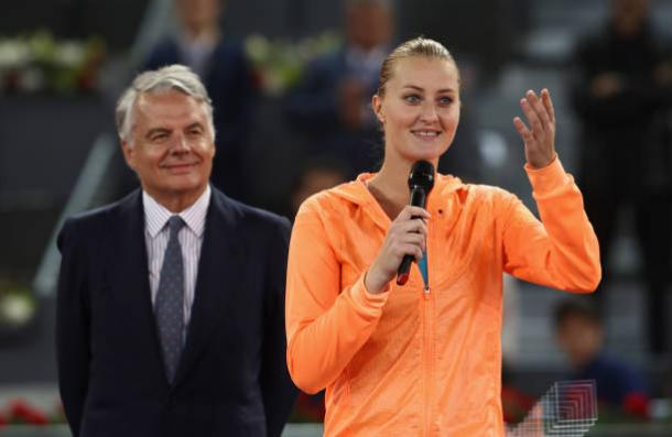 Kristina Mladenovic during her runner-up speech after losing to Simona Halep in the final of the Mutua Madrid Open (Getty/Julian Finney)