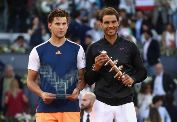 Dominic Thiem and Rafael Nadal after the final in Madrid, which the Spaniard won 7-6, 6-4 (Getty/Julian Finney)
