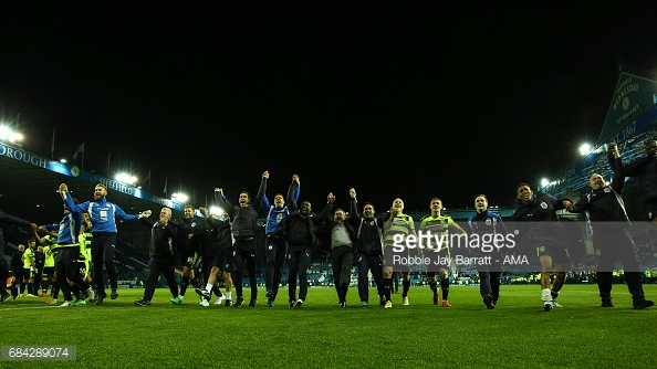 Huddersfield celebrate securing their place at Wembley. (picture: Getty Images / Robbie Jay Barratt - AMA)