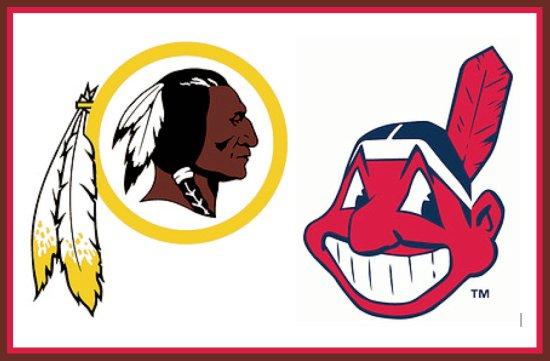 Logos de Washington Redskins (NFL) y Cleveland Indians (MLB) / Uni Watch