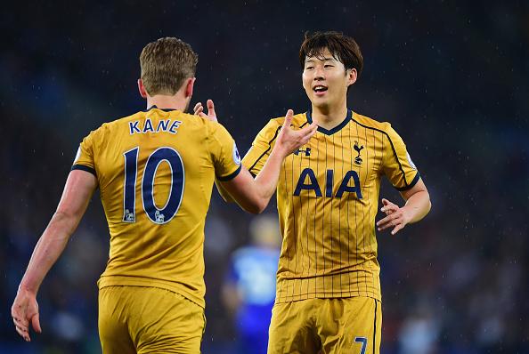 Son e Kane foram os grandes nomes do jogo, fazendo os seis gols do Tottenham no emabte (Foto: Tony Marshall / Getty Images)