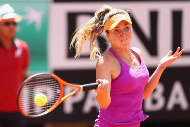 Elina Svitolina in action against Simona Halep during the final in Rome (Getty/Michael Steele)