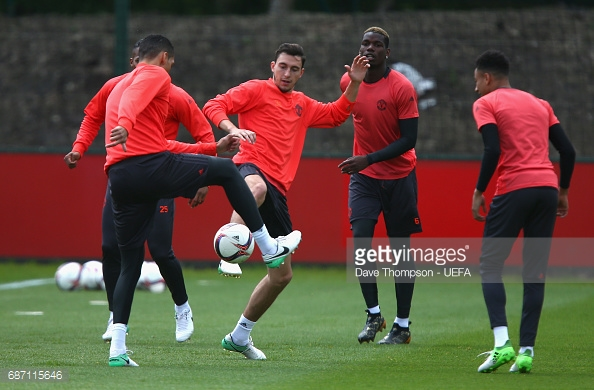 Matteo Darmian worked hard in training to earn a place in starting eleven. Image Courtesy-Getty