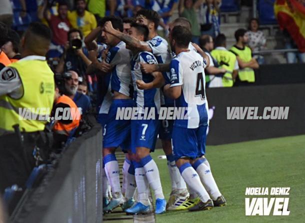 Los jugadores del Espanyol celebrando un gol. FOTO: Noelia Déniz
