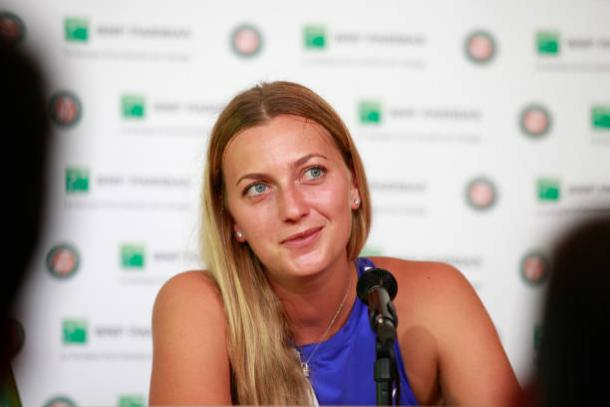 A delighted Kvitova speaking to the media at the French Open on the same day she confirmed her participation at the tournament. Photo credit: Antoine Gyori/Getty Images.