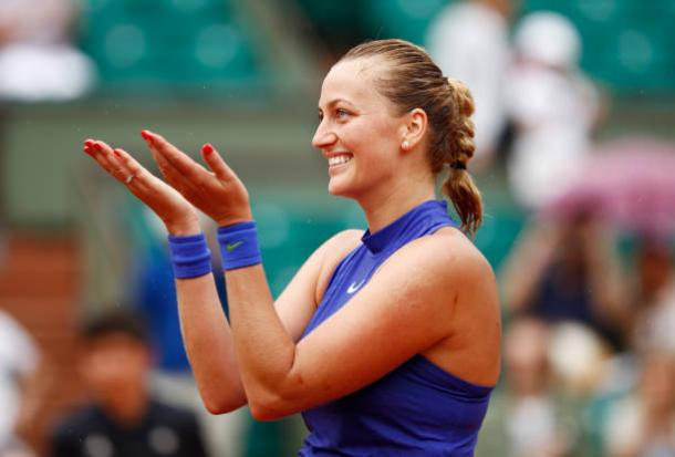 Kvitova celebrates her win in the first round of the French Open last month. Photo credit: Adam Pretty/Getty Images.