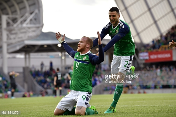 Boyce celebrates scoring for Northern Ireland against New Zealand. (picture: Getty Images / Charles McQuillan)