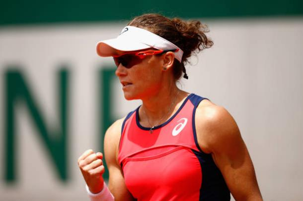 Samanatha Stosur during her French Open loss to Jelena Ostapenko (Getty/Adam Pretty)