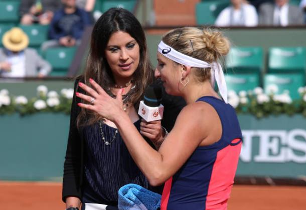 Bartoli interviews Timea Bacsinszky at the French Open this year (Getty/Jean Catuffe)