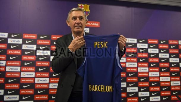 Svetislav Pesic durante su presentación como nuevo entrenador. Foto: FC Barcelona.