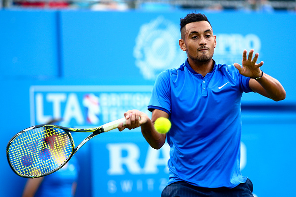 Kyrgios jokes about pub time after fall at Queen's Club