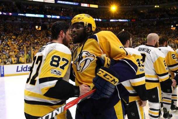 Subban and Crosby shake hands after Game 6/Photo: Bruce Bennett/Getty Images