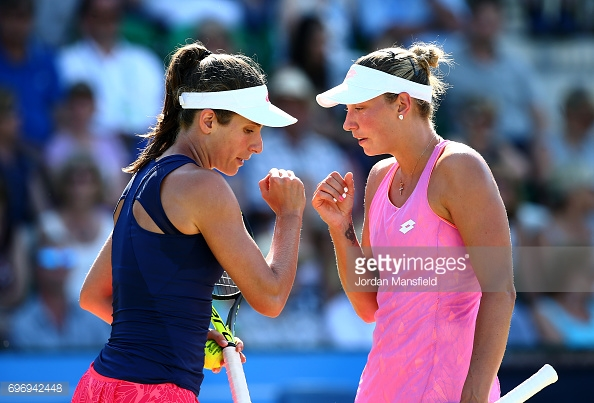 Konta has also been competing in the doubles tournament in Nottingham. (picture: Getty Images / Jordan Mansfield)