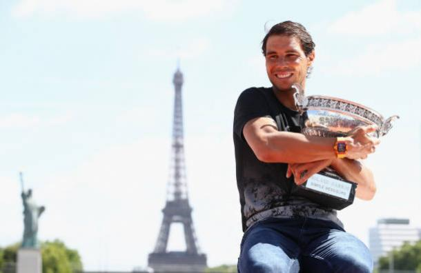 Nadal celebrates after his historic French Open triumph (Getty/Julian Finney)