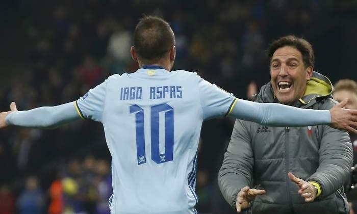 Iago Aspas celebrando su gol en Krasnodar con Berizzo / Foto: Reuters