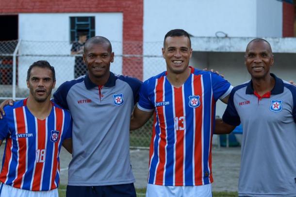 Ziquinha, Sérgio Gomes, Bidu e Cadão. Quarteto de ídolos do Friburguense. Foto: Reprodução
