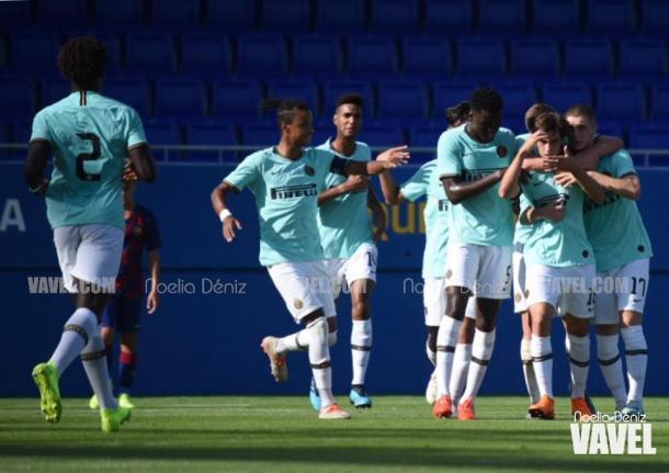 Los jugadores del Inter celebrando el gol. FOTO: Noelia Déniz