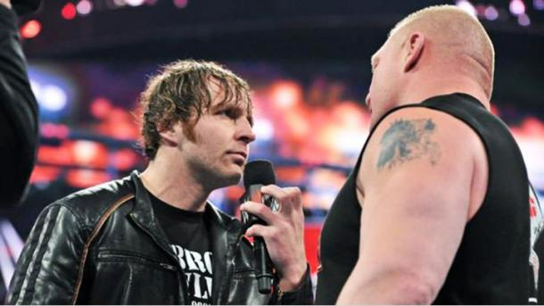 Dean Ambrose gets right in Brock Lesnar's face| WWE