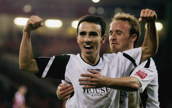 A much younger looking Leon Britton celebrates scoring for Swansea back in 2007. (Photo: Jamie McDonald/Getty Images)