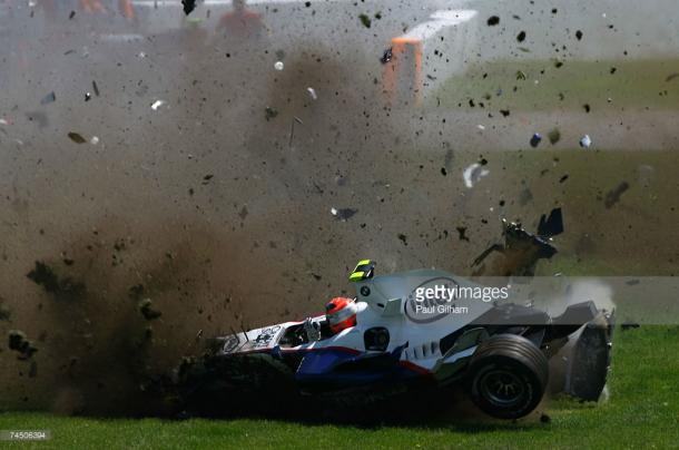 Kubica walked away from this 75G crash. | Photo: Getty Images/Paul Gilham