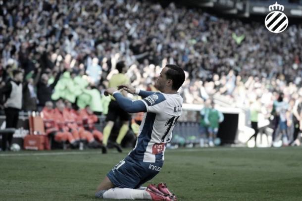 RDT celebrando su gol ante el Mallorca/ Fuente: RCD Espanyol