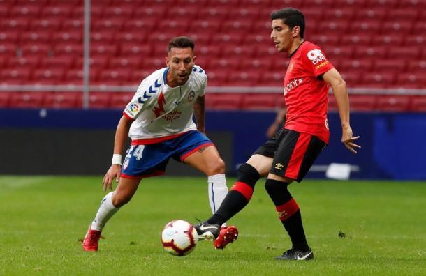 Varela defiende un balón en el partido contra el Mallorca. Imagen; Laliga123