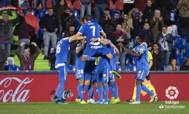 El equipo celebrando un gol en casa | Fuente: LaLiga