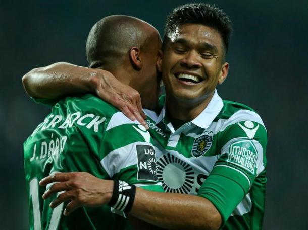 João Mário e Teo Gutiérrez foram os heróis da partida // Foto: Lusa