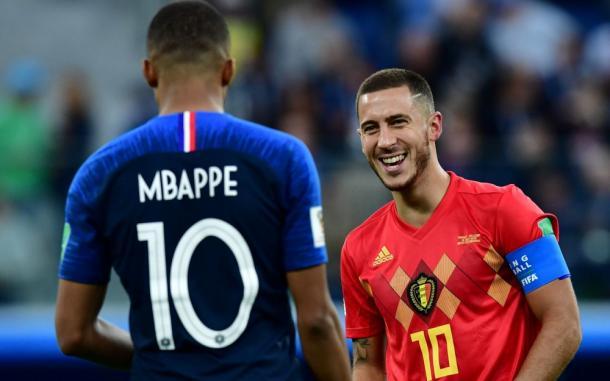 Mbappe y Hazard en el mundial de Rusia. AFP
