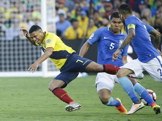 Brazil committing one of their 12 fouls in the match against Ecuador on Saturday at the Rose Bowl. Photo provided by USA TODAY Sports.