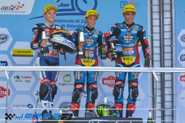Los éxitos fueron llegando, podio en PreMoto3. Foto: Circuito de Jerez.