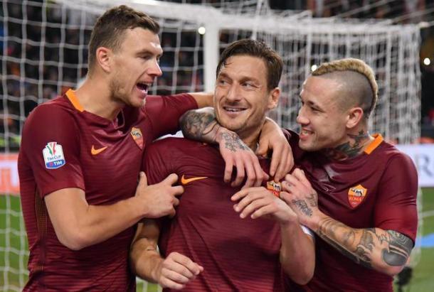 L'esultanza di Totti dopo il gol. Foto:ANSA