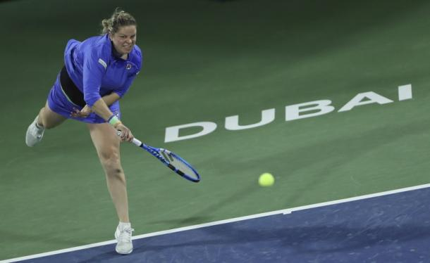 Clijsters serves during her first match back on tour in eight years in Dubai/Photo: Kamran Jebrieli/Associated Press