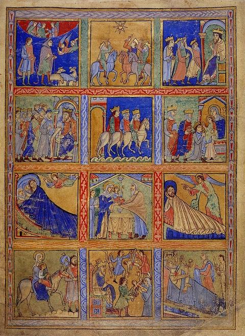 Doce escenas de la historia de Navidad (circa 1140) Canterbury (Biblioteca Británica). PD.
