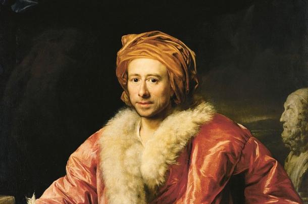 Detalle del Retrato de Johann Joachim Winckelmann (1768), realizado por Anton von Maron (1733-1808). (PD).