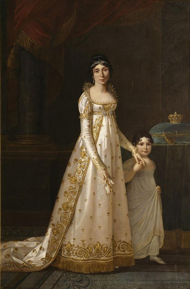 Retrato de Marie-Julie Clary, como reina de Nápoles, con su hija Zénaïde Bonaparte (1807), por Robert Jacques Lefèvre (1755-1830) PD.