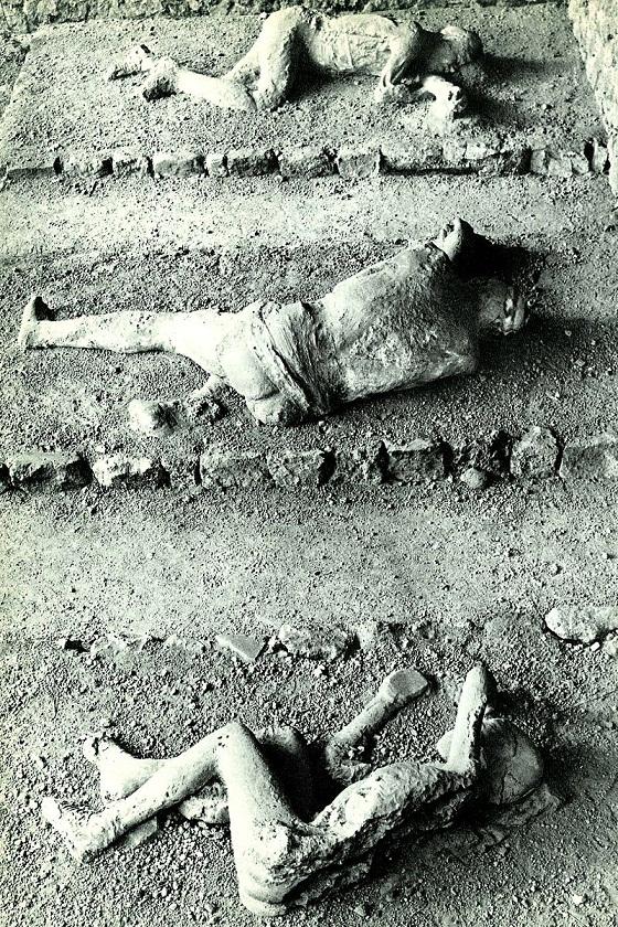 Recreación actual de los fallecidos en Porta Nocera en Pompeya (PD).