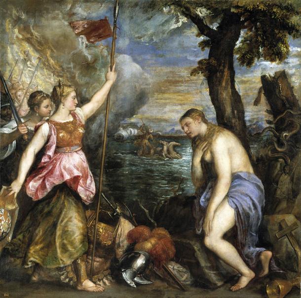La Religión socorrida por España (1572-1575), de Tiziano (1490-1576). Museo del Prado. (PD)