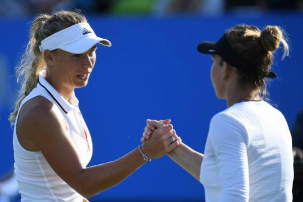 Wozniacki and Halep following their clash at Eastbourne in June 2017 (Getty/Mike Hewitt)