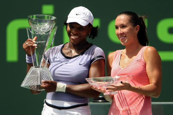 Serena defeats Jelena Jankovic in 2008 to win her fifth Miami Open (then named Sony Ericsson Open) title. Credit: Chris McGrath/Getty Images