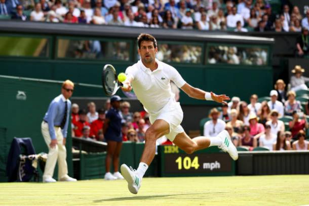 Novak Djokovic in action during his first round win today (Getty/Michael Steele)