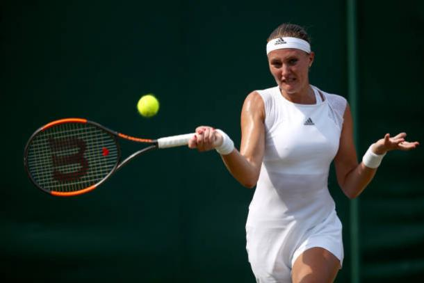 Kristina Mladenovic in action at Wimbledon this year (Getty/Julian Finney)