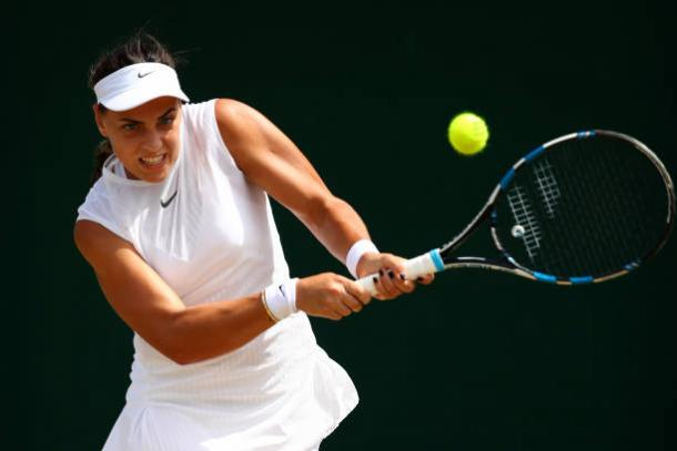 Ana Konjuh will look to attack as much as possible when she faces the five-time champion on Centre Court (Getty/Clive Brunskill)
