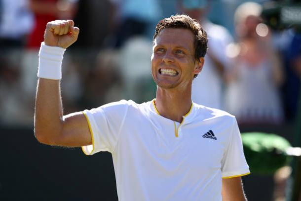 Tomas Berdych celebrates his third round win over David Ferrer (Getty/Julian Finney)
