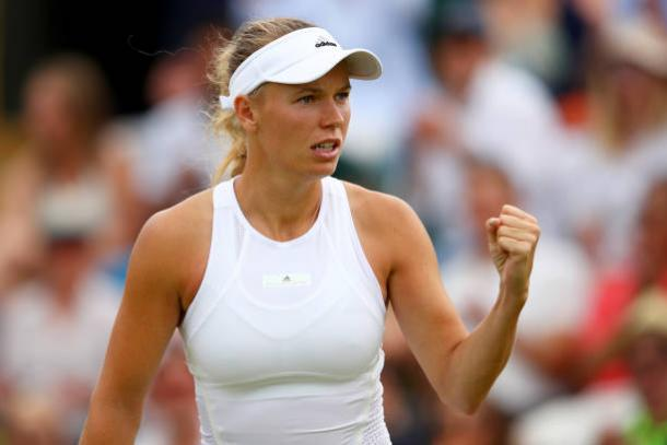 Caroline Wozniacki in action at Wimbledon earlier this year (Getty/Clive Brunskill)