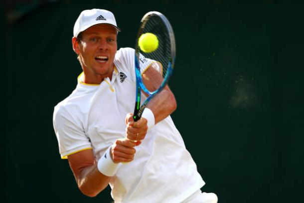Tomas Berdych in action during his five-sets win over Dominic Thiem (Getty/Clive Brunskill)