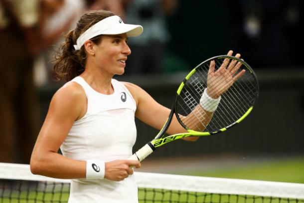 Konta celebrates after her win over Simona Halep at Wimbledon (Getty/Michael Steele)