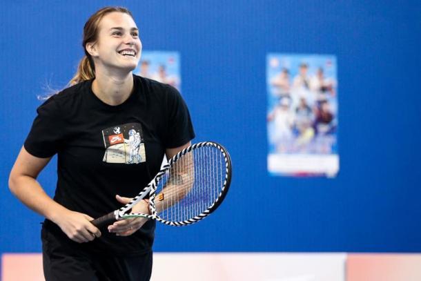 Aryna Sabalenka during a promotional event in Shenzhen | Photo: Shenzhen Open